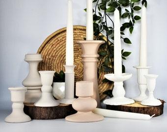 Matt Pale Vintage Candlesticks / Candle Holders Hand Painted in Neutral Tones: Antique White, Latte & Pale Terracotta. Matt Finish.