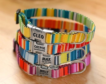 Boho Striped Cat Collar with Engraved Buckle - Personalized Cat Collar - Soft Collars with Mexican Stripes Patterns - Customized Cat Collar
