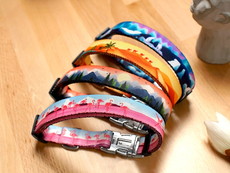 Engraved Dog Collar Personalized Dog Collar with Wildlife Patterns Custom Pet Collars for Small and Large Dogs Nature Puppy Collar