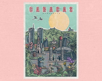 Caracas Print / Poster / Illustration / Architecture / Venezuela / Postcard / Gift / Original / Print / Skyline