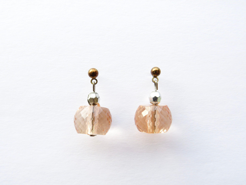 Bohemian Aesthetic Earrings Rose Gold Earrings Bridesmaid Gift Bead Earrings Dangle Champagne Earrings Copper Earring Hippie Aesthetic