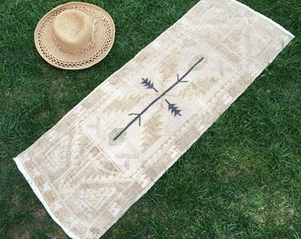 Small Oushak Rug, Bathroom Rug, Beril CP-1110, Wool on Cotton 1.5x4 ft. (47x121 cm)