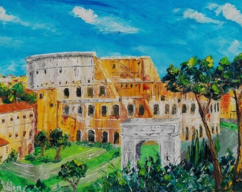 """Colosseo Roma, Italy oil painting on canvas, gift, sunset painting, palette knife, wall art decor, gift, 60 x 90 cm, 23"""" x 35"""""""