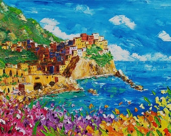 """Manarola, Cinque Terre, Italy oil painting on canvas, gift, oil on canvas, palette knife, spatula painting, 60 x 90 cm, 23"""" x 35"""""""