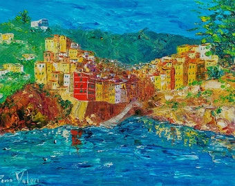 """Riomaggiore, Cinque Terre Italy, painting on canvas, oil painting, gift, oil on canvas, palette knife painting, 50 x 70 cm, 19"""" x 27"""""""