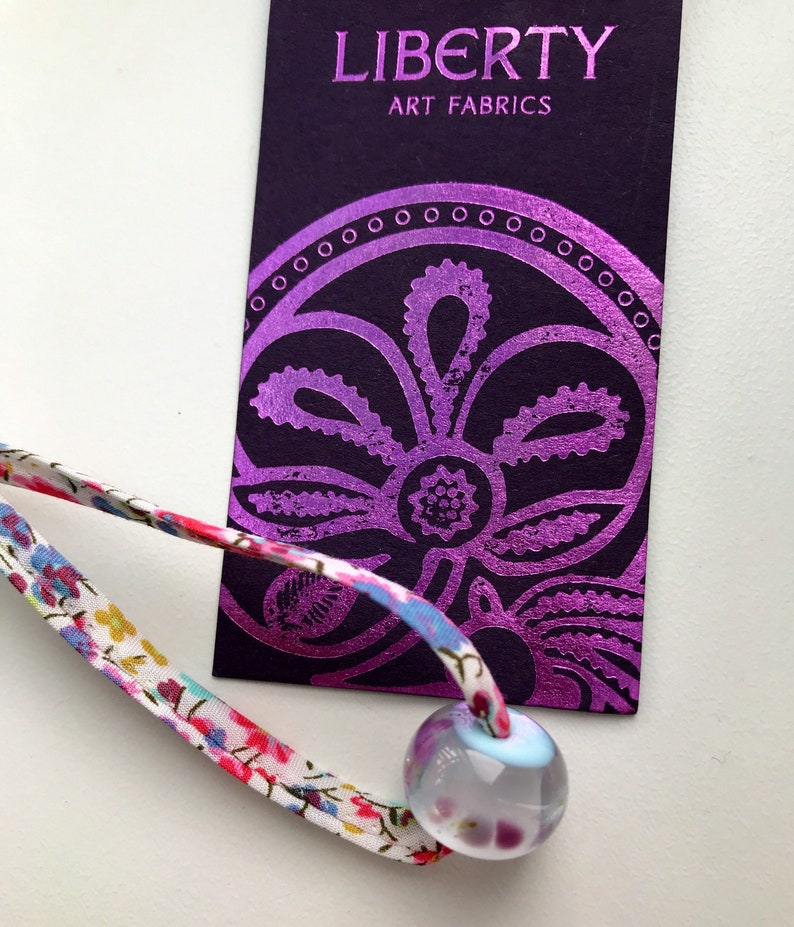 Liberty of London recycled fabric bracelets floral with multi coloured bead.
