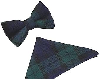 Black Watch Tartan Scottish Plaid Bow Tie & Hanky Set