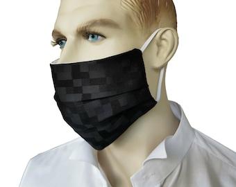 Adult Reusable 100% Silk Black Check Face Mask