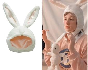 Women Girls Soft Plush Fluffy Bunny Animal Hat Cap Long Ears Winter Party