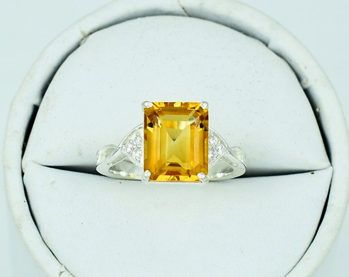 Halo Ring, November birthstone ring gemstone ring Engagement Ring 925 Silver Ring Natural Citrine Ring Citrine ring Birthday gift