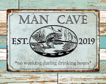 "Metal Street Sign Fishermans Cove Garage Man Cave Bar Boat Decor 3/""x18/"" Lake"