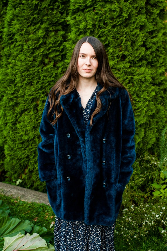 Vintage Midnight Blue Faux Fur Coat by White Stag