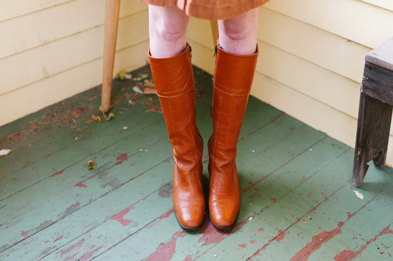 1960's Leather Caramel Colored Knee High Boots Siz