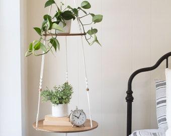Macrame Hanging Shelf, Double Hanging Shelf, Round Hanging Shelf, Two Tiered Hanging End Table, Hanging Nightstand, Stacked Plant Hanger
