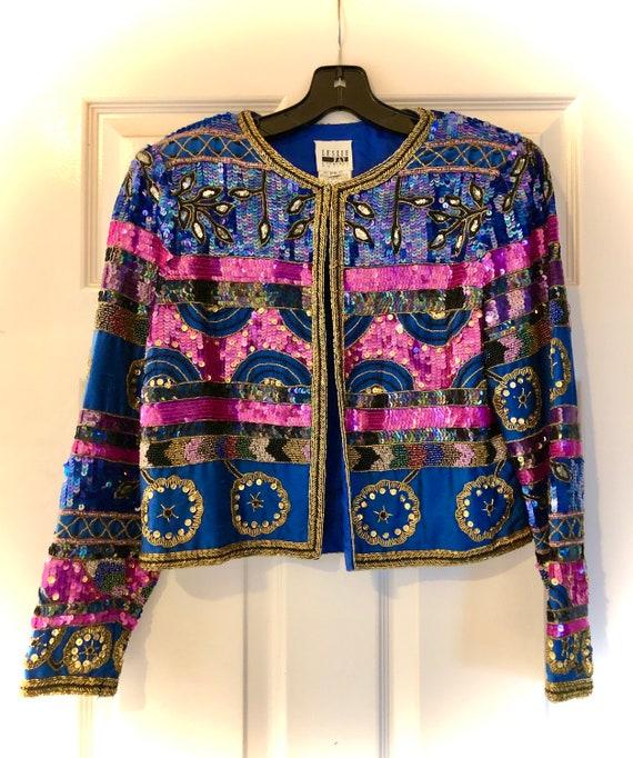 Crazy, festive, super fun 1980s blinged-out blazer