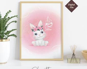 Set of 3 Prints Personalised Rabbit  Pink Nursery Print, Boho Nursery Printable Wall Art, Nursery Prints DIGITAL DOWNLOAD
