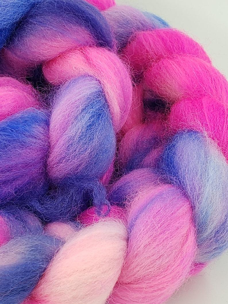Combed Top BFLNylon Roving Spinning Fiber 20/% Nylon BFL Sock Hand Dyed