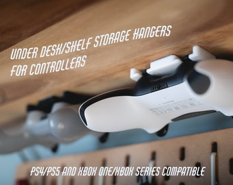 Under Desk/Shelf Storage Hanger/Mount/Display for PlayStation and Xbox Controllers |  PS2/PS3/PS4/PS5, 360/Xbox One/Xbox Series X/S