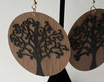 Real walnut and vegan leather tree earrings