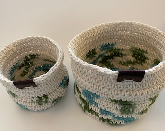 Hand crocheted cotton rope baskets