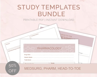 Study Templates BUNDLE   Med Surg Patho Nursing Notes Template   Concept Map   Pharmacology   Head-to-toe   PDF