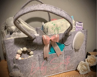 Personalised nappy caddy. Personalised / Baby / Changing bag / Storage / Over night bag / Organising / Gift / Name.