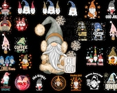 Coffee Gnomes Png, Coffee Lover Png, Gnomes with Coffee Png, Slouchy Hat Coffee Gnome Holding Coffee Mug Png Sublimation Designs
