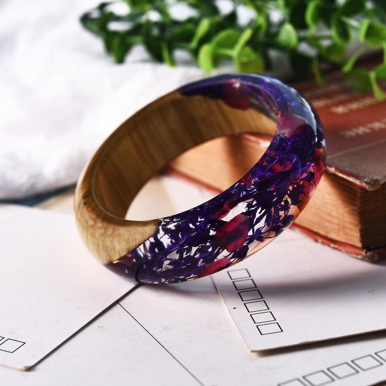 Handmade Clear Eco-Friendly Resin Bracelet Angled Maple Wood Dried Bright Purple Red FlowersPlants Transparent Bangle JewelryByZinzile