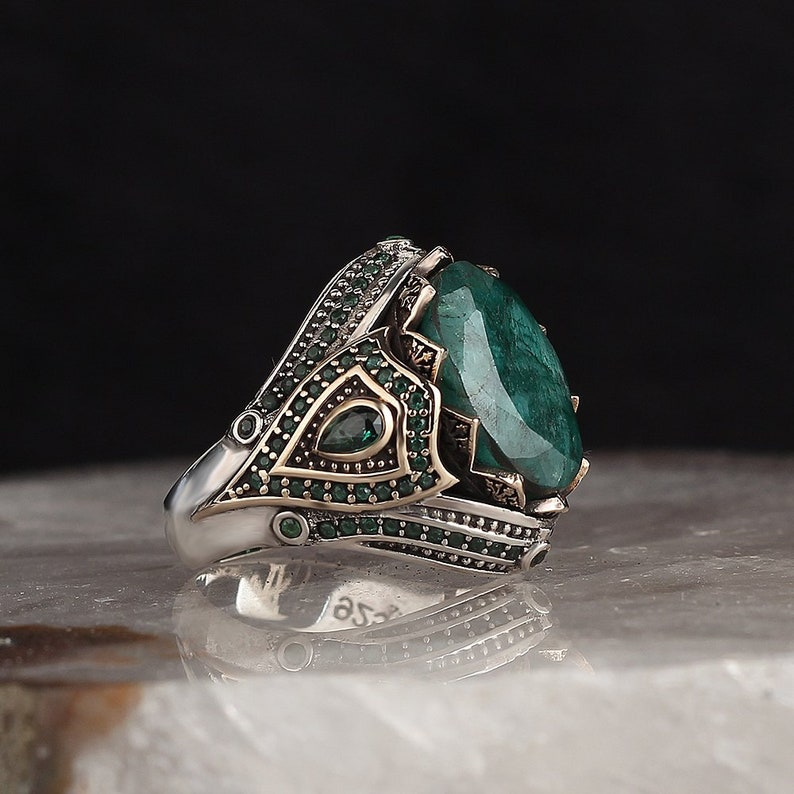 Gift for Her Gift for Dad Real Sterling Silver Ring with Natural Emerald or Amber or Labradorite Stone Silver Women Ring Silver Men Ring