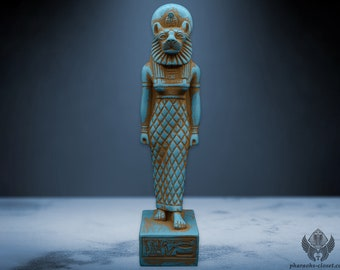 The Nile Healing Sekhmet - Unique Sacred Stone Statue of The Lioness Goddess Sekhmet - Rare Egyptian Art - Activated and Handmade in Egypt