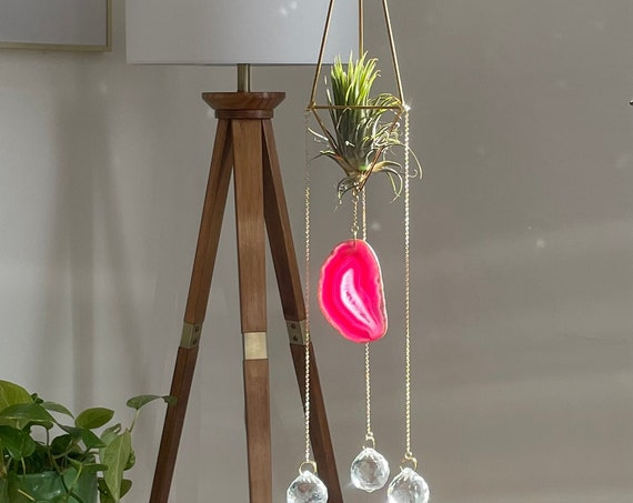 The Sophie - Fuchsia crystal prism air plant sun catcher, suncatcher, plant holder, House warming gift, Mother's Day gift, spring home decor
