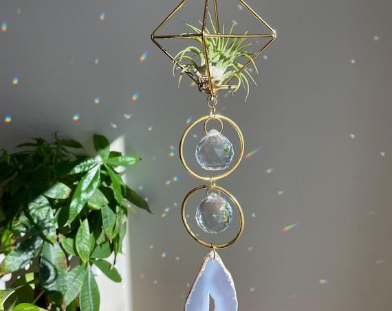 The Aria - Two hoop agate crystal air plant sun catcher, geode, geode suncatcher, agate sun catcher