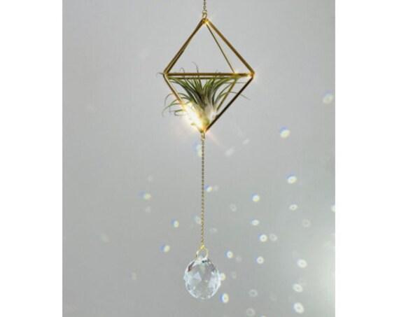 The Simplicity - Small crystal air plant sun catcher, crystal sun catchers, crystal prism, crystal air plant, suncatcher