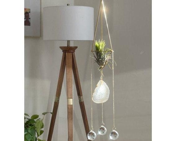 The Solei - Natural agate three crystal prism air plant sun catcher, plant holder, geode sun catcher, crystal suncatcher