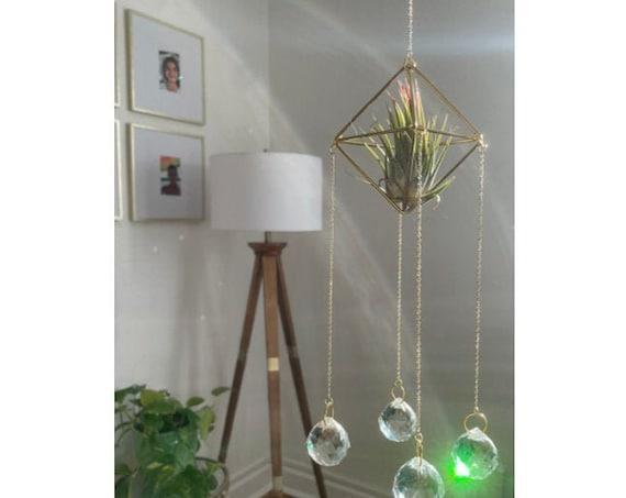 The Original - Four prism air plant crystal sun catcher with live air plant, crystals, zen, unique, relaxation, calming suncatcher, peaceful
