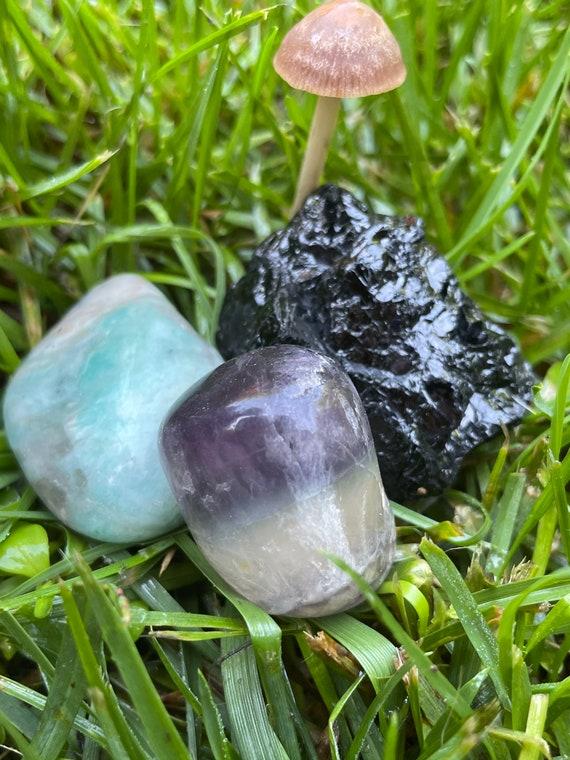 Black Tourmaline, Fluorite and Amazonite pack of three crystals
