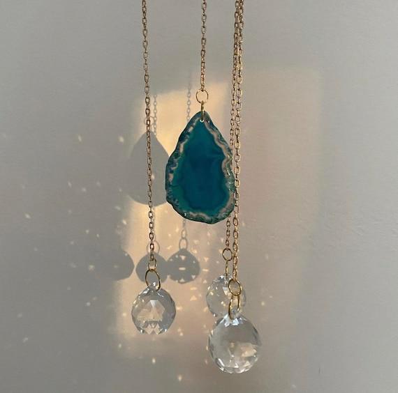 Blue agate air plant sun catcher, geode, agate, crystal, sun catcher, crystal sun catcher, prism, prisms