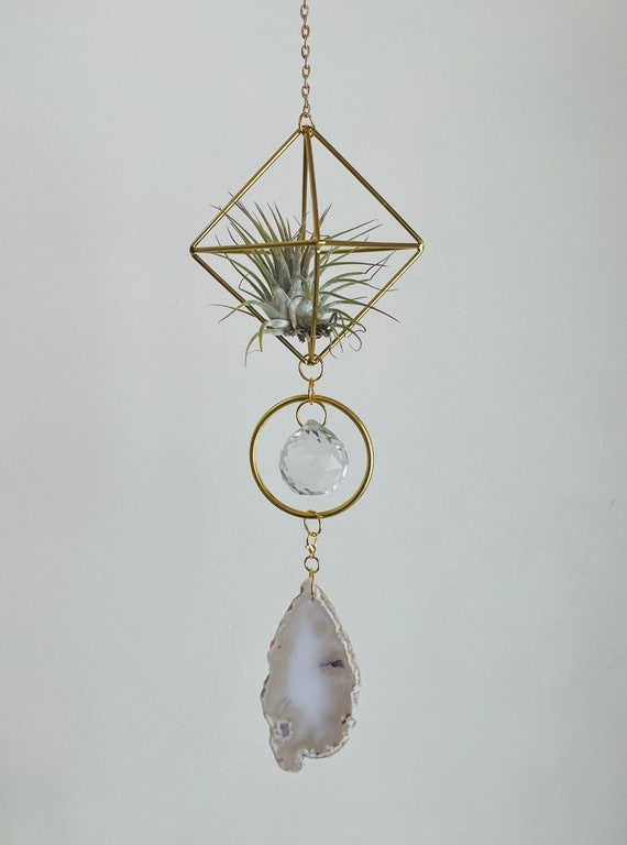 Interchangeable agate crystal air plant sun catcher, crystal sun catcher, suncatcher