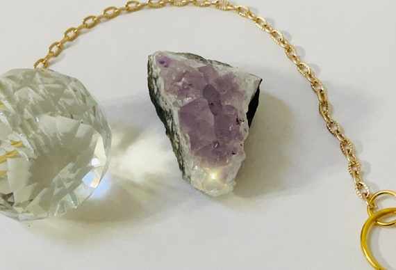 Sun catcher and amethyst crystal duo