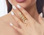 Gold Hippie Snake Ring, Adjustable Full Finger Snake Ring, Boho Style Animal Jewelry, Serpent Medusa Statement Ring, Aesthetic, Draco Ring,