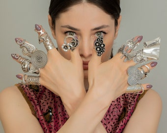 Adjustable Boho Rings, Chunky Rings, Statement Rings, Knuckle Ring, Hippie Long Ring, Ethnic Ring, Tiny Snake Ring, Full Finger Ring, ZeyDor