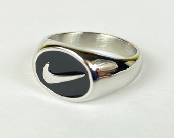 Silver Nike Swoosh Logo Round Signet Ring | Birthday Xmas Anniversary Valentines Christmas Gift for him or her