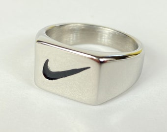 Silver Nike Swoosh Logo Square Signet Ring | Birthday Xmas Anniversary Valentines Christmas Gift for him or her