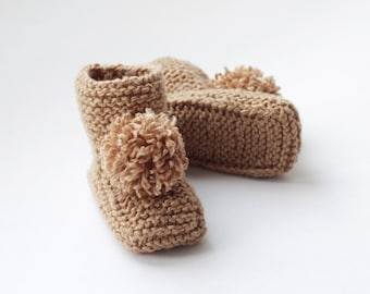 baby shower gift Beige hand knitted booties booties with big pom pom 6-12 months newborn socks baby boy and girl knit sock booties
