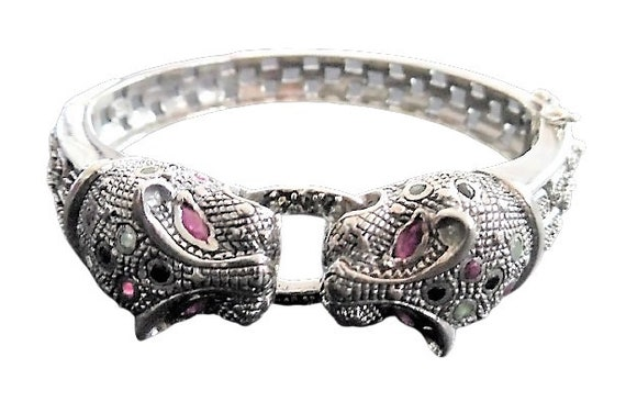 Sterling Silver Marcasite Leopard Bangle