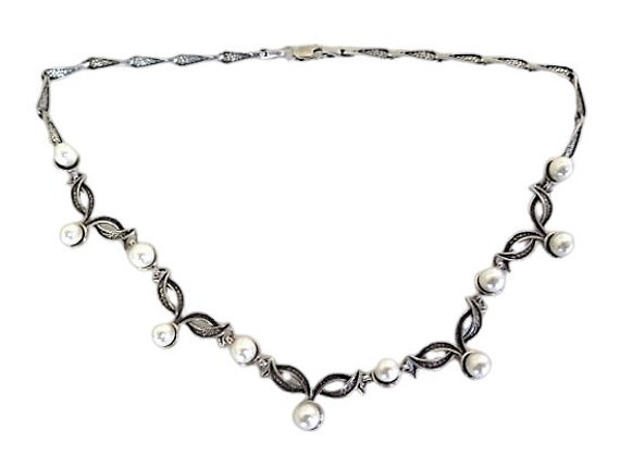 Sterling Silver Pearl Necklace Art Nouveau