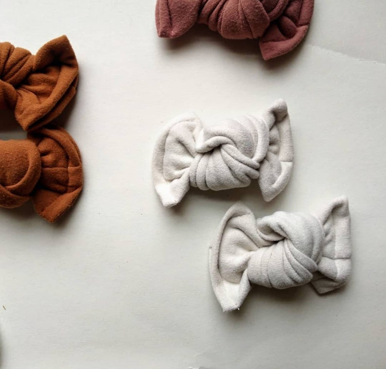 Organic  knotted baby bows  navy tye-die  army  pink waffle  camel  baby shower gift  knotted pigtail bows