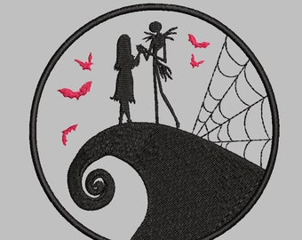 Jack Skellington and Sally Hill Embroidery Design