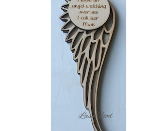 In Memory Angel Wing File - Laser Cut Files digital svg, dxf files for crafts, laser cutting and engraving for Glowforge + Others