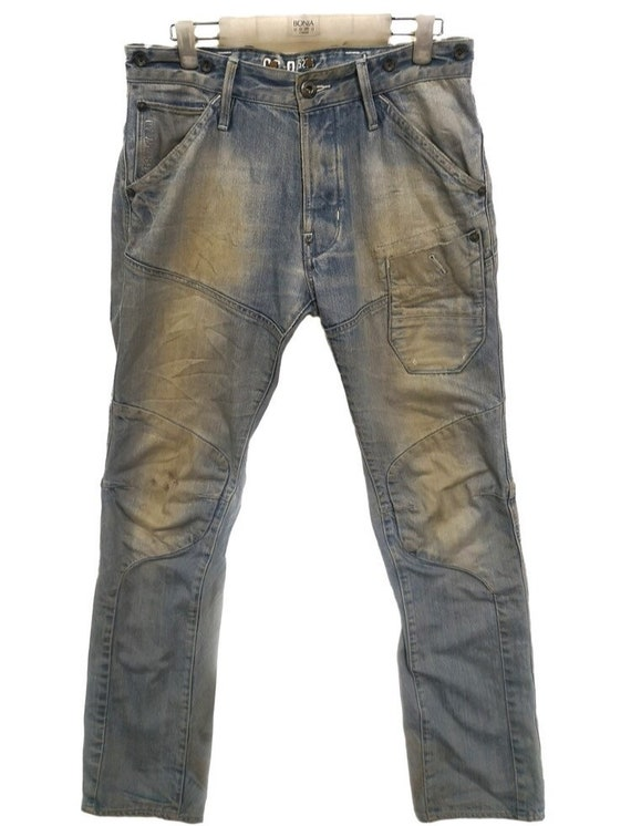 Distressed Denim G Star Raw Jean Patched/Cargo